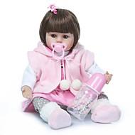 お買い得  -NPKCOLLECTION リボーンドール ガールドール 赤ちゃん(女) 18 インチ ビニール - プレゼント キュート 人工インプラントブラウンアイズ 子供 おもちゃ ギフト