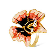 cheap -Women's Clear Cubic Zirconia Fancy Statement Ring Ring Adjustable Ring - 18K Gold Plated, Imitation Diamond Flower Shape Statement, Hyperbole, Oversized Jewelry Gold For Carnival Street Bar Adjustable