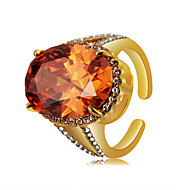 cheap -Women's Orange Crystal Retro Ring Knuckle Ring Open Ring - 18K Gold Plated, Imitation Diamond Totem Series Statement, Luxury, Vintage Jewelry Orange For Party Ceremony Holiday 6 / 7 / 8