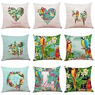 cheap -9 pcs Linen Pillow Cover, Special Design Floral Print Contemporary European Tropical