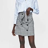 זול -משובץ - חצאיות גזרת A בסיסי בגדי ריקוד נשים