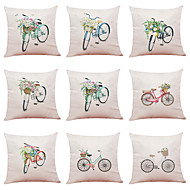 cheap -9 pcs Linen Pillow Cover, Simple Novelty Floral Print Casual / Daily New Arrival