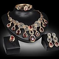 저렴한 -여성용 쥬얼리 세트 모조 다이아몬드 배 클래식, 과장 포함 목걸이 귀걸이 팔찌 조정 가능한 반지 골드 제품 파티 행사