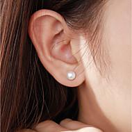 저렴한 -여성용 담수 진주 스터드 귀걸이 펄 S925 스털링 실버 귀걸이 단순한 단 보석류 화이트 제품 데이트 사무실 및 경력 1 쌍