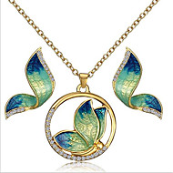 בגדי ריקוד נשים סגנון וינטג' סט תכשיטים אבן נוצצת, ציפוי זהב פרפר וינטאג', בוהמי לִכלוֹל עגילים צמודים שרשראות תליון צהוב / ירוק / כחול עבור Party מתנה