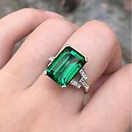 זול -בגדי ריקוד נשים אזמרגד סינתטי טבעת כסוף מסוגנן Fashion Ring תכשיטים ירוק עבור יומי