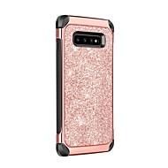 Χαμηλού Κόστους -BENTOBEN tok Για Samsung Galaxy Galaxy S10 Ανθεκτική σε πτώσεις / Επιμεταλλωμένη / Λάμψη γκλίτερ Πίσω Κάλυμμα Μονόχρωμο / Λάμψη γκλίτερ Σκληρή PU δέρμα / TPU / PC για Galaxy S10
