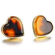 Χαμηλού Κόστους -Γυναικεία Κλασσικό Κουμπωτά Σκουλαρίκια Σκουλαρίκια Καρδιά Απλός Βίντατζ Ευρωπαϊκό Γλυκός Κοσμήματα Καφέ Για Καθημερινά Δρόμος Αργίες Δουλειά 1 Pair