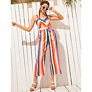 cheap -Women's Basic Rainbow Jumpsuit, Striped Print M L XL