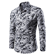 baratos -Homens Camisa Social Estampado, Floral / Geométrica / Estampado Cashemere