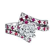 Bague / Anneaux Femme Zircon cubique Bagues Tendance Bijoux Rose Adorable pour Cadeau Quotidien 2pcs