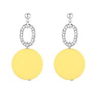 Χαμηλού Κόστους -Γυναικεία Cubic Zirconia Γεωμετρική Κρεμαστά Σκουλαρίκια Ξύλο Σκουλαρίκια Κορεάτικα Μοντέρνα Κοσμήματα Κίτρινο / Ροζ Για Καθημερινά Δρόμος Αργίες Δουλειά 1 Pair