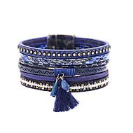 Χαμηλού Κόστους -Γυναικεία Φούντα Βραχιόλια με Φυλαχτά Vintage Βραχιόλια Δερμάτινα βραχιόλια Δερμάτινο Πολύτιμος Βασικό Βραχιόλια Κοσμήματα Μπλε Για Δώρο Καθημερινά Σχολείο Δρόμος Φεστιβάλ / Κρυστάλλινο βραχιόλι