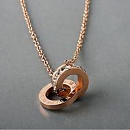 זול -בגדי ריקוד נשים Crossover שרשראות תליון פלדת טיטניום יהלום מדומה רומנטי אלגנטית זהב ורד 45.5 cm שרשראות תכשיטים 1pc עבור יומי