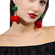 저렴한 -여성용 드랍 귀걸이 귀걸이 체리 귀여운 스타일 보석류 레드 제품 일상 1 쌍