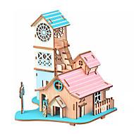 billige -Puslespill i tre Puslespill og logikkleker Arkitektur Hus Håndlavet Foreldre-barninteraksjon Tre 1 pcs Barne Voksne Leketøy Gave