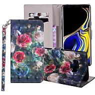 preiswerte -Hülle Für Samsung Galaxy Note 9 Geldbeutel / Kreditkartenfächer / mit Halterung Ganzkörper-Gehäuse Blume Hart PU-Leder für Note 9