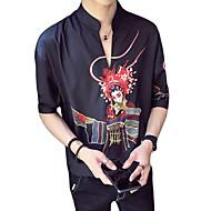 זול -דיוקן / שבטי צווארון עומד(סיני) סגנון רחוב / אלגנטית חולצה - בגדי ריקוד גברים דפוס לבן XL
