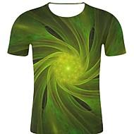 billige -T-skjorte Herre - Stripet / 3D / Grafisk, Trykt mønster Rock / overdrevet Grønn XXL