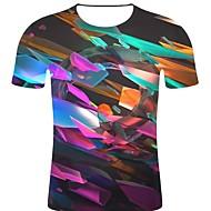 billige -T-skjorte Herre - 3D / Regnbue / Grafisk, Trykt mønster Rock / overdrevet Regnbue XXL