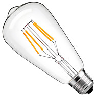 abordables -1pc 4 W Ampoules à Filament LED 360 lm E26 / E27 ST64 4 Perles LED COB Décorative Blanc Chaud Blanc Froid 220-240 V