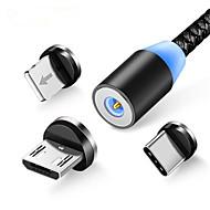 ราคาถูก -3 in 1 led แม่เหล็กสายชาร์จสำหรับ iphone xr xs สูงสุด x 8 7 6 บวกโทรศัพท์มือถือโทรศัพท์แม่เหล็กชาร์จ micro usb cable type c ลวด