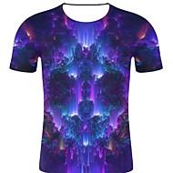 billige -T-skjorte Herre - 3D / Regnbue / Grafisk, Trykt mønster Rock / overdrevet Blå XXL
