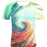 billige -T-skjorte Herre - Galakse / 3D / Grafisk, Trykt mønster Rock / overdrevet Regnbue XXL