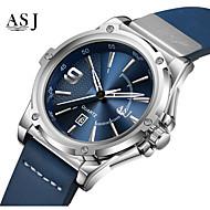 رخيصةأون -ASJ رجالي ساعة فستان ياباني كوارتز جلد طبيعي أسود / أزرق 100 m رزنامه مماثل موضة - أبيض أزرق سنة واحدة عمر البطارية