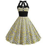 billige -Dame Vintage Swing Kjole - Geometrisk, Flettet Trykt mønster Midi