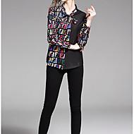 billige -Dame - Geometrisk / Farveblok Blondér / Patchwork / Trykt mønster Skjorte Sort L