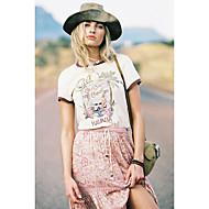 abordables -Tee-shirt Femme, Fleur / Lettre / Portrait Imprimé Chic de Rue Beige US0