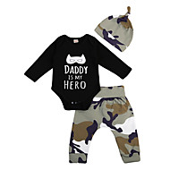 cheap -Baby Boys' Active / Basic Print Long Sleeve Short Clothing Set Black