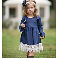cheap -Kids Girls' Color Block Lace Dress Navy Blue