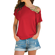 cheap -Women's Daily Wear Basic T-shirt - Solid Colored Red US10