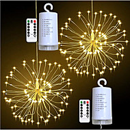 billige -0.2m Lyssett / Lysslynger 100 LED SMD 0603 1 13Kjør fjernkontrollen Varm hvit / Hvit / Multifarget Vanntett / Fest / Dekorativ Batterier drevet 2pcs