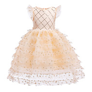 cheap -Kids Toddler Girls' Sweet Street chic Snowflake Lace Sequins Patchwork Sleeveless Knee-length Cotton Polyester Dress Gold