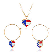 رخيصةأون -نسائي العلم الأمريكي مجموعة مجوهرات قلب, علم أوروبي, شائع, حلو تتضمن أقراط قطرة قلائد الحلي التقزح اللوني من أجل شارع مهرجان / مل 3pcs
