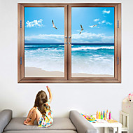 cheap -Blue Sky Beach Landscape Wall Stickers - Words &ampamp Quotes Wall Stickers Characters Study Room / Office / Dining Room / Kitchen