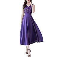رخيصةأون -فستان نسائي A line أساسي دانتيل مطرز طويل للأرض ورد