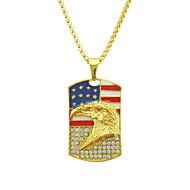 levne -Pánské Kubický zirkon Náhrdelníky s přívěšky americká vlajka Eagle Vlajka Evropský Moderní Casual / Sportovní Chrome Zlatá 76 cm Náhrdelníky Šperky 1ks Pro Dar Denní Festival