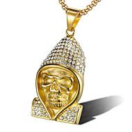 levne -Pánské Kubický zirkon Náhrdelníky s přívěšky Klasika Lebka Módní Titanová ocel Zlatá Stříbrná 60 cm Náhrdelníky Šperky 1ks Pro Dar Denní