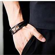 Недорогие -Муж. Кожаные браслеты Loom браслет Кроссовер покрышка Стиль Уникальный дизайн Панк модный Титановая сталь Браслет Ювелирные изделия Черный / Коричневый Назначение
