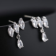 halpa -Naisten Synteettinen timantti Niittikorvakorut Korvarenkaat S925 Sterling Hopea korvakorut Korut Hopea / Kultainen Käyttötarkoitus Häät Pyhäpäivä 1 Pair