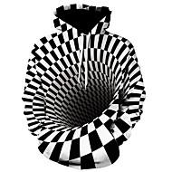 economico -Per uomo Casual / Attivo Felpa con cappuccio Fantasia geometrica / Monocolore / 3D