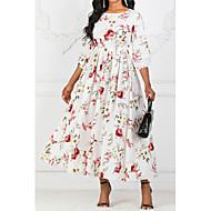 baratos -Mulheres balanço Vestido - Estampado, Floral Longo