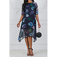 baratos -Mulheres Tamanhos Grandes Para Noite Chifon Vestido - Estampado, Floral Médio