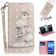 baratos -Capinha Para Huawei Huawei Nova 3i / Huawei Nova 4 / Huawei nova 4e Carteira / Porta-Cartão / Com Suporte Capa Proteção Completa Animal / Desenhos 3D PU Leather