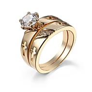 povoljno -Žene / Par je Prstenje za parove / Prsten 2pcs Zlato Kamen / Imitacija dijamanta Geometric Shape Jedinstven dizajn / Klasik / Osnovni Vjenčanje / Angažman / Dar Nakit odjeće