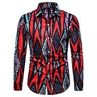 Недорогие -Муж. С принтом Рубашка Богемный / Элегантный стиль Однотонный / Буквы Красный